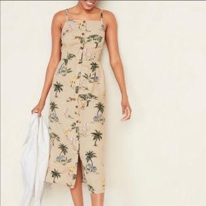 NWT Old Navy Linen Blend Safari Print Midi Dress